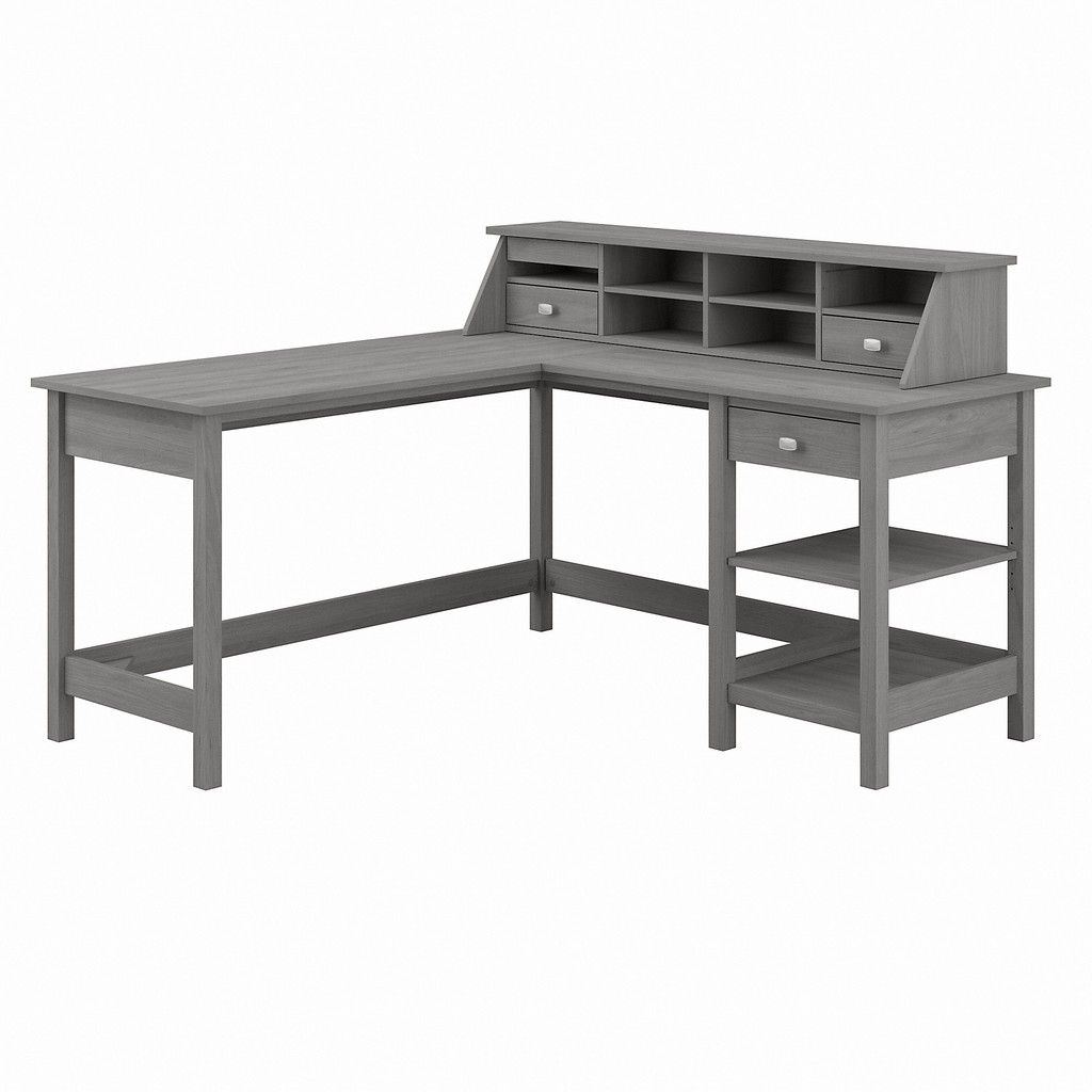 Bush Furniture Broadview 60W L Shaped Computer Desk with Storage and Desktop Organizer in Modern Gray - Bush Furniture BD029MG