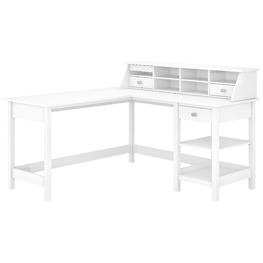 Bush Furniture Broadview 60W L Shaped Computer Desk w/ Desktop Organizer in Pure White - BD029WH