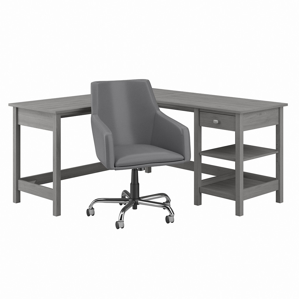 Bush Furniture Broadview 60W L Shaped Computer Desk and Chair Set in Modern Gray - Bush Furniture BD033MG
