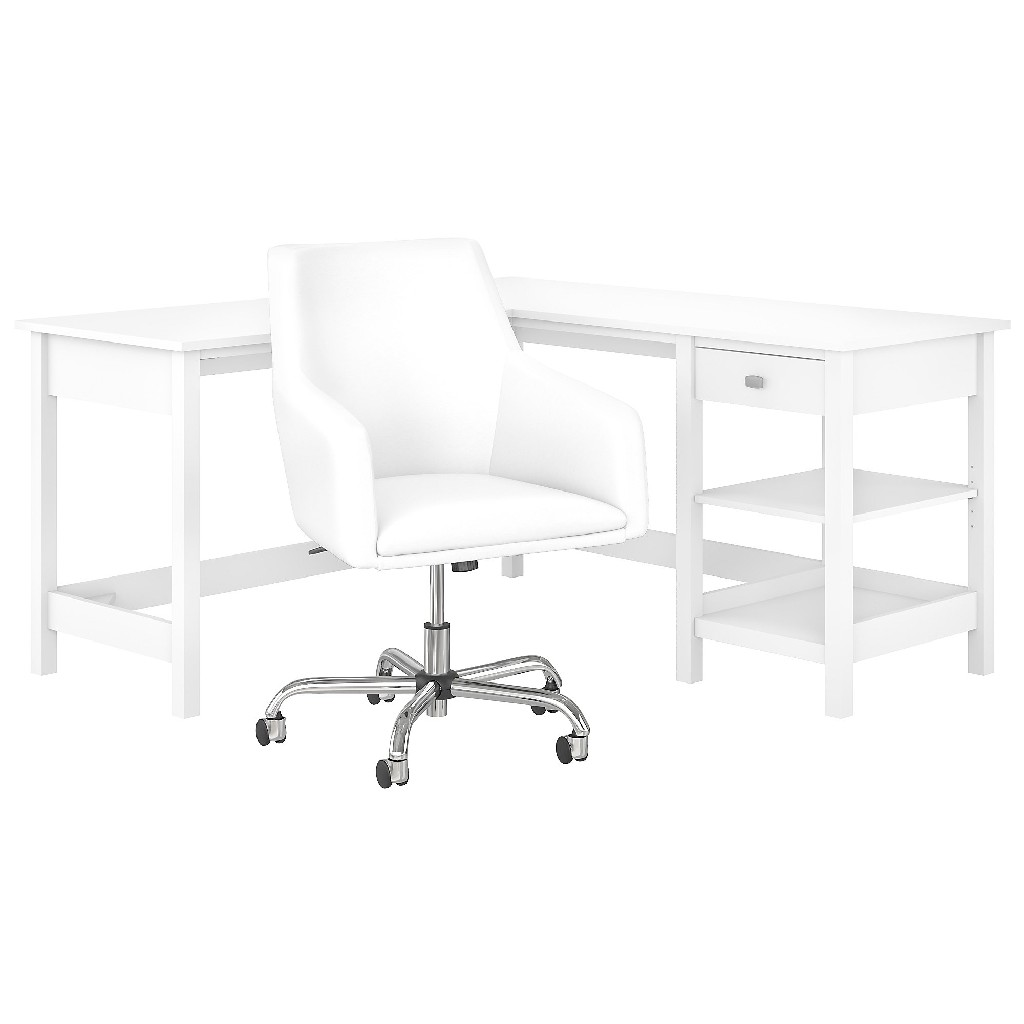 Bush Furniture Broadview 60W L Shaped Computer Desk w/ Storage & Mid Back Leather Box Chair in Pure White - BD033WH