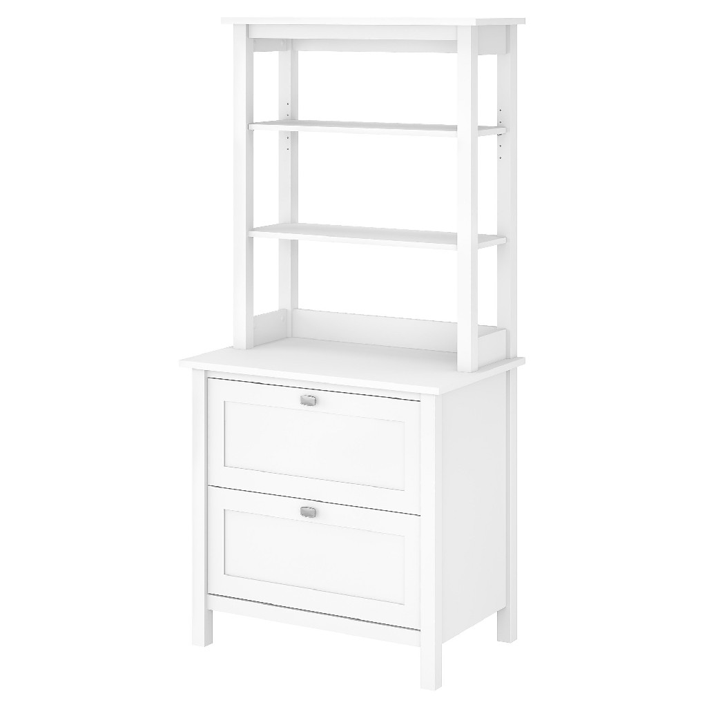 Bush Furniture Broadview Bookcase w/ Drawers in Pure White - BD035WH