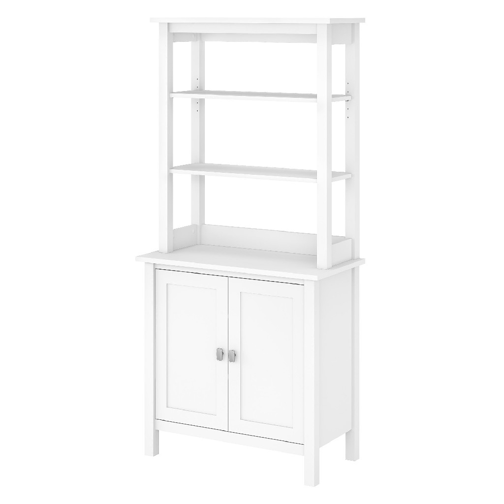 Bush Furniture Broadview 5 Shelf Bookcase w/ Doors in Pure White - BD036WH