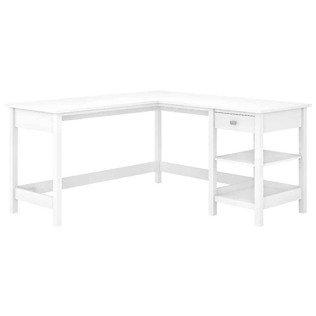 Bush Furniture Broadview 60W L Shaped Computer Desk w/ Storage in Pure White - BDD260WH-03