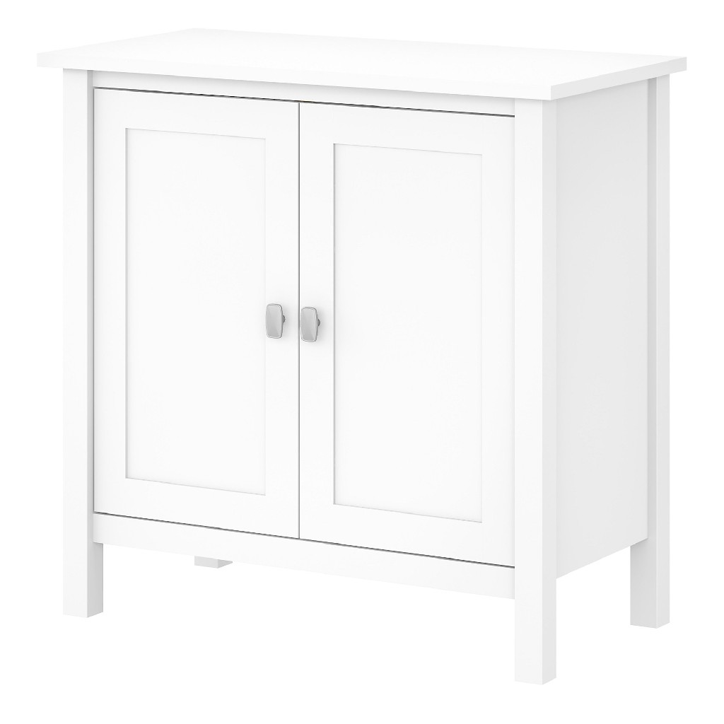 Bush Furniture Broadview Accent Storage Cabinet w/ Doors in Pure White - BDS131WH-03