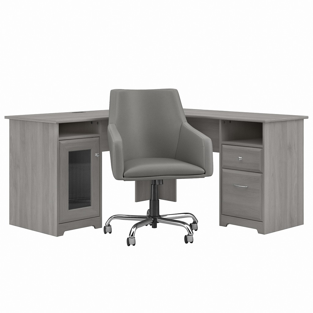 Bush Furniture Cabot 60W L Shaped Computer Desk with Mid Back Leather Box Chair in Modern Gray - Bush Furniture CAB059MG
