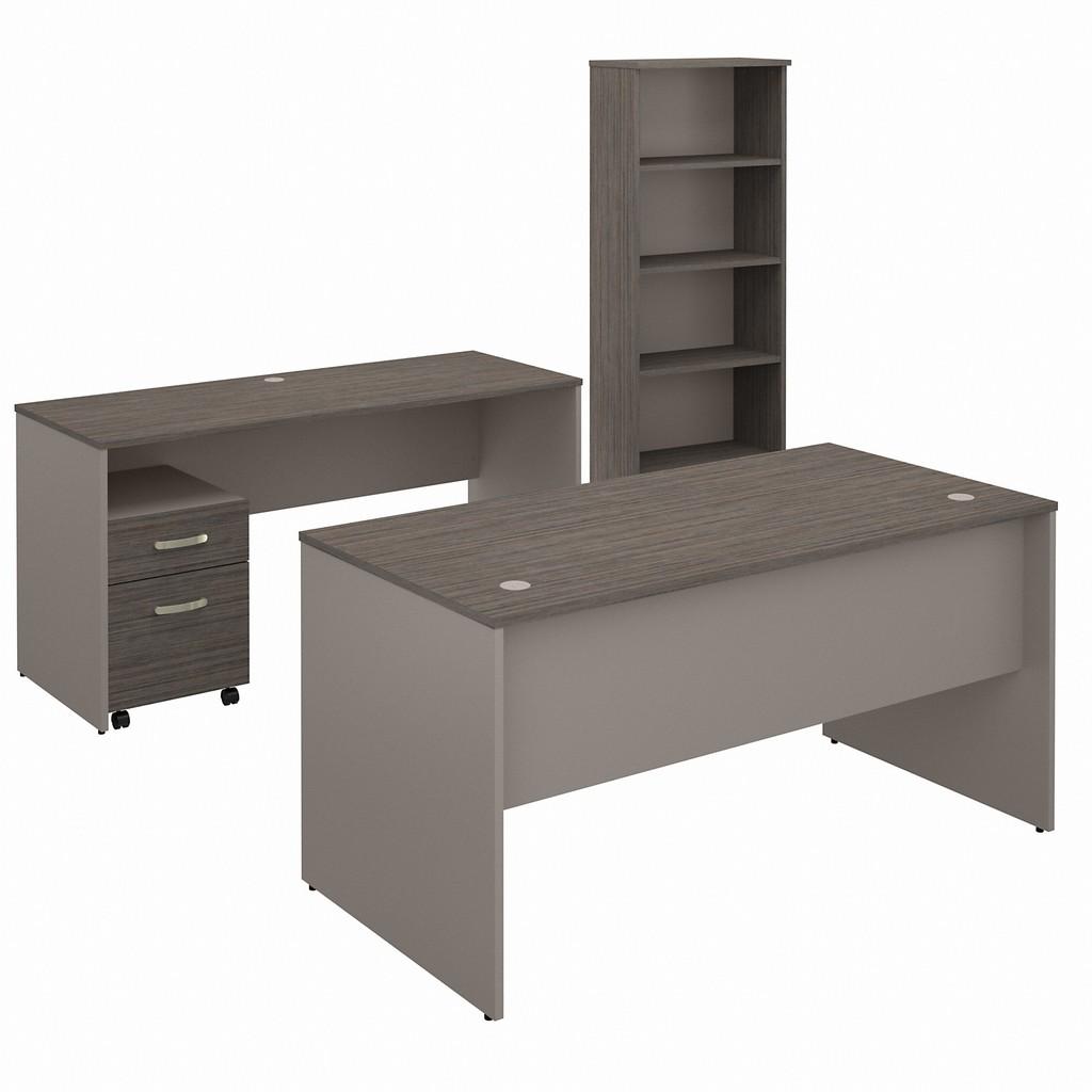 Office Desk Credenza Mobile File Cabinet Bookcase Cocoa Pewter