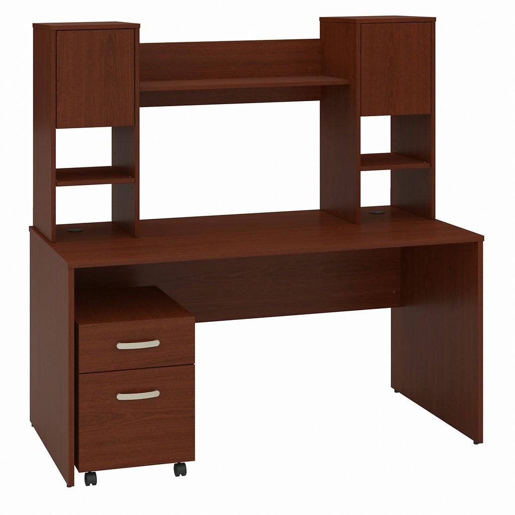 Bush Office Desk Hutch Mobile File Cabinet Autumn Cherry