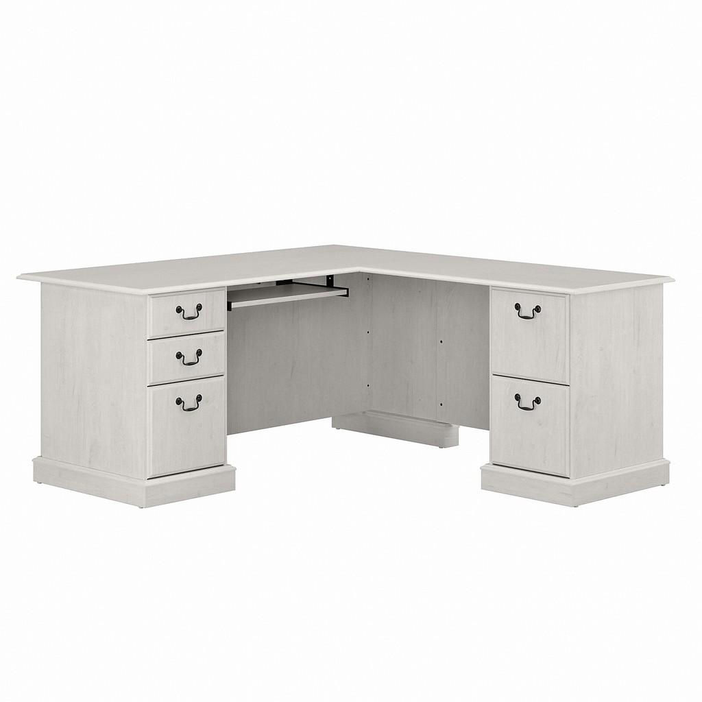 Bush Furniture Saratoga L Shaped Computer Desk with Drawers in Linen White Oak - Bush Furniture EX45770-03K