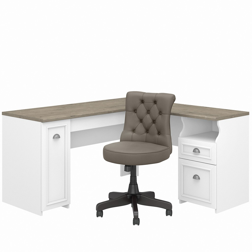 Bush Furniture Fairview 60W L Shaped Desk and Chair Set in Pure White and Shiplap Gray - Bush Furniture FV019G2W