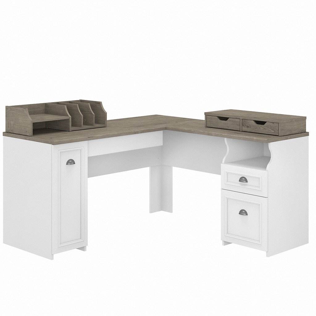 Bush Furniture Fairview 60W L Shaped Desk with Storage and Desktop Organizers in Pure White and Shiplap Gray - Bush Furniture FV022G2W