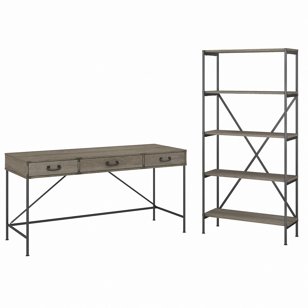 kathy ireland® Home by Bush Furniture Ironworks 60W Writing Desk with Drawers and 5 Shelf Etagere Bookcase in Restored Gray - Bush Furniture IW035RTG