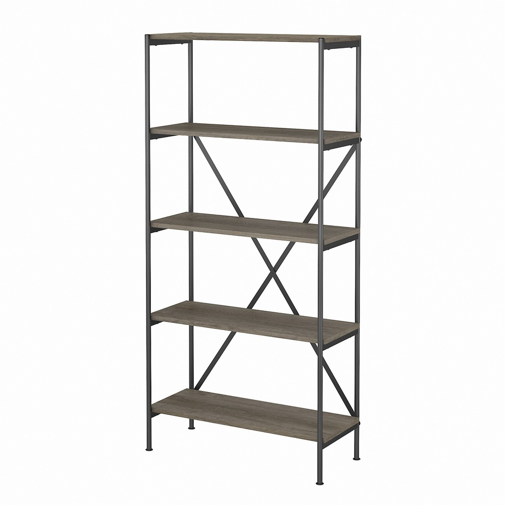 kathy ireland® Home by Bush Furniture Ironworks 5 Shelf Etagere Bookcase in Restored Gray - Bush Furniture KI50308-03