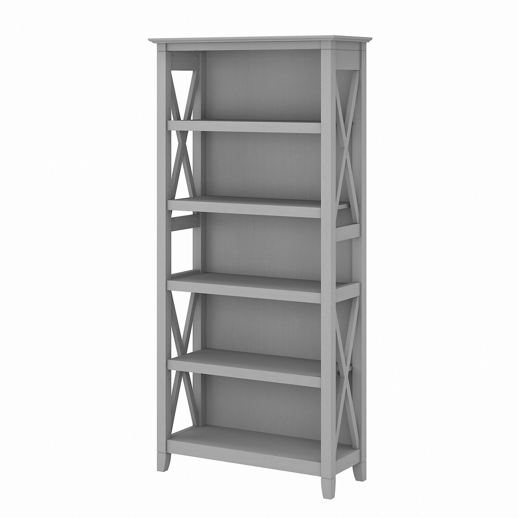 Bush Furniture Key West Tall 5 Shelf Bookcase in Cape Cod Gray - Bush Furniture KWB132CG-03