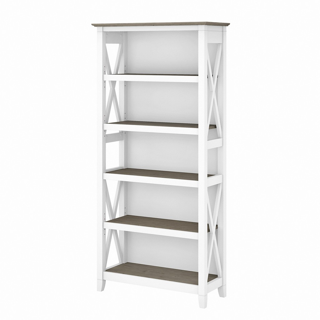 Bush Furniture Key West Tall 5 Shelf Bookcase in Pure White and Shiplap Gray - Bush Furniture KWB132G2W-03