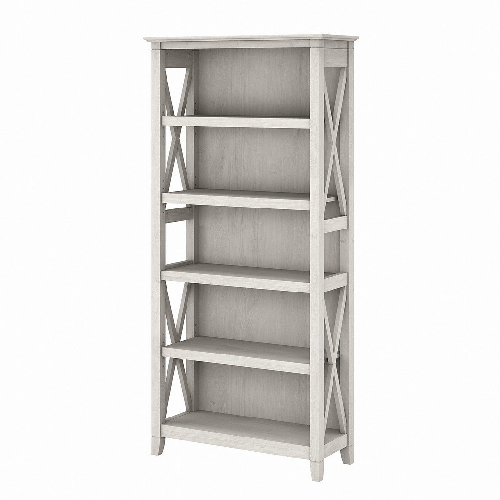 Bush Furniture Key West Tall 5 Shelf Bookcase in Linen White Oak - Bush Furniture KWB132LW-03