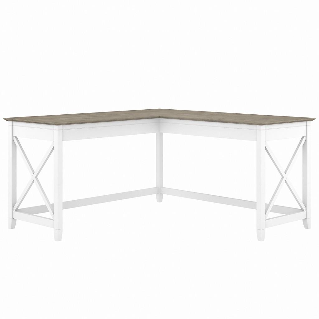 Bush Furniture Key West 60W L Shaped Desk in Pure White and Shiplap Gray - Bush Furniture KWD160G2W-03