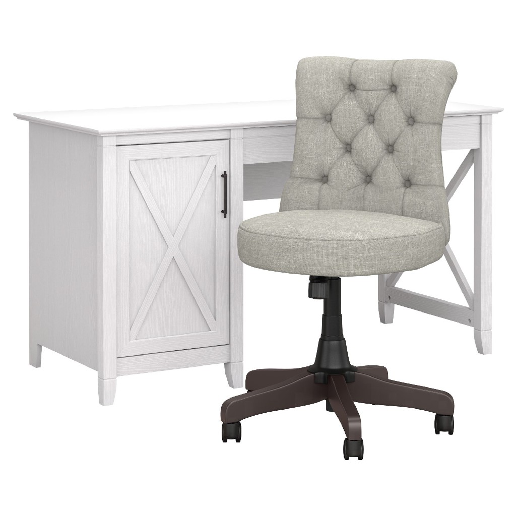Furniture | Computer | Storage | Tufted | Office | Chair | White | West | Desk | Back
