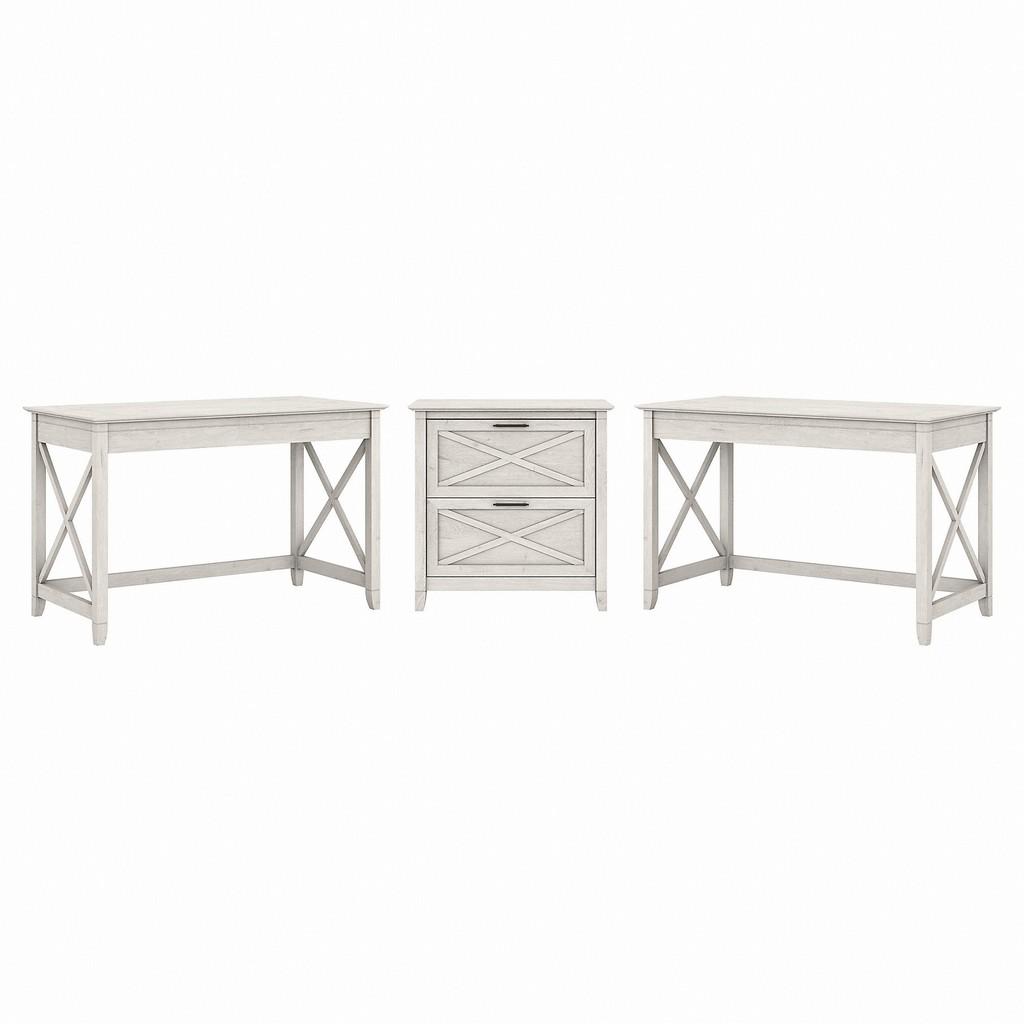 Bush Furniture Key West 2 Person Desk Set with Lateral File Cabinet in Linen White Oak - Bush Furniture KWS047LW