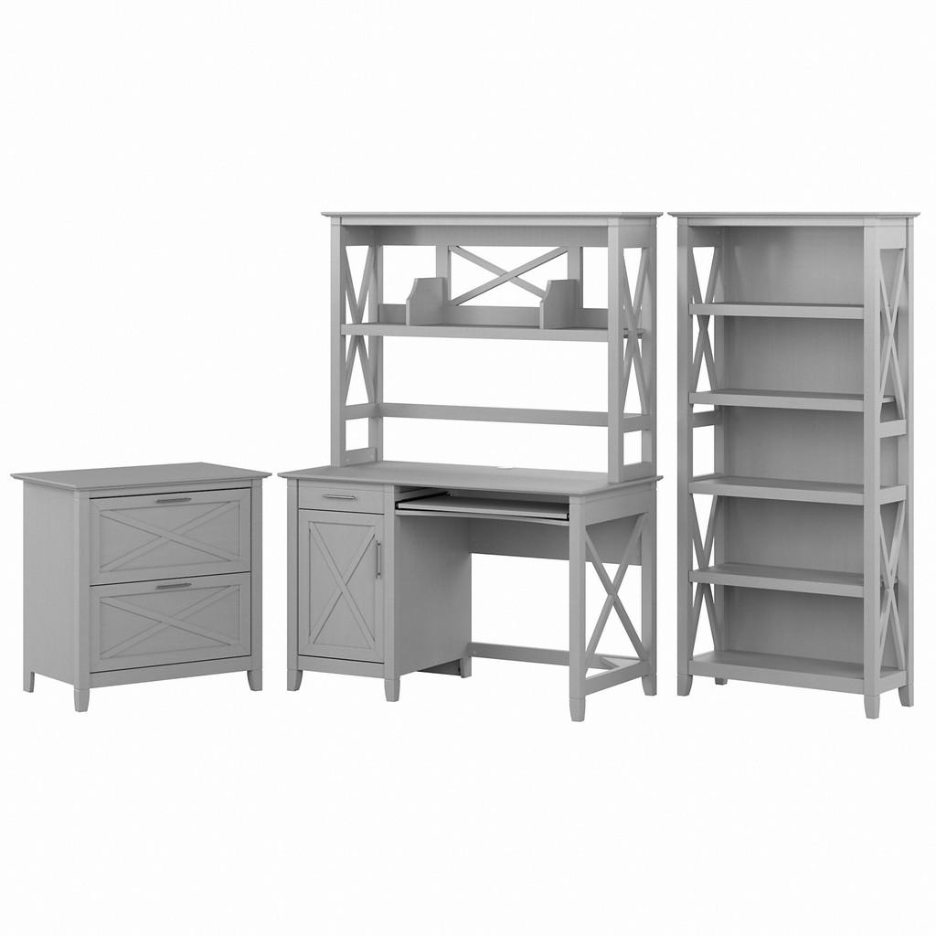 Small Computer Desk Hutch Bookcase Lateral File Cabinet Cape Cod Gray