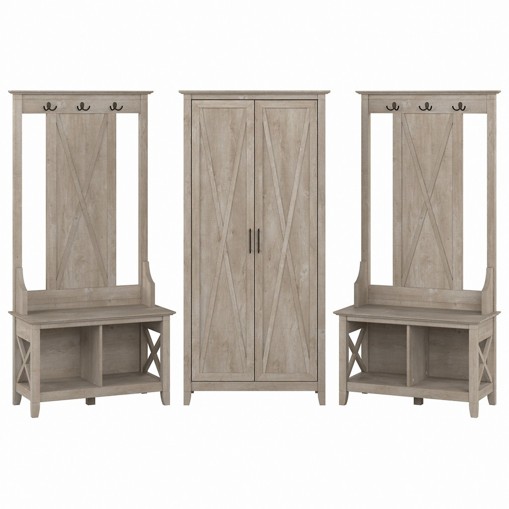 Bush Furniture Entryway Storage Set Hall Tree Shoe Bench Tall Cabinet Washed Gray