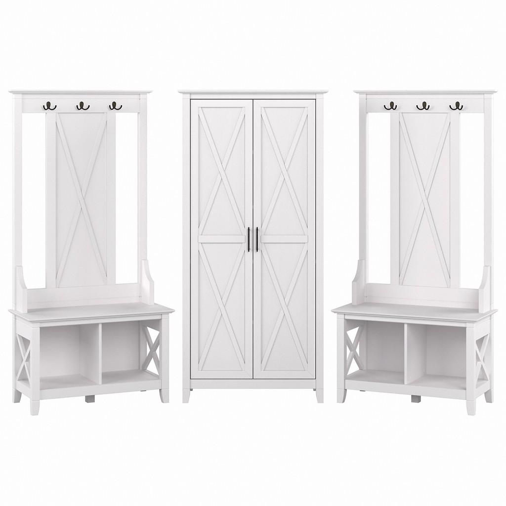 Bush Furniture Entryway Storage Set Hall Tree Shoe Bench Tall Cabinet Pure White Oak