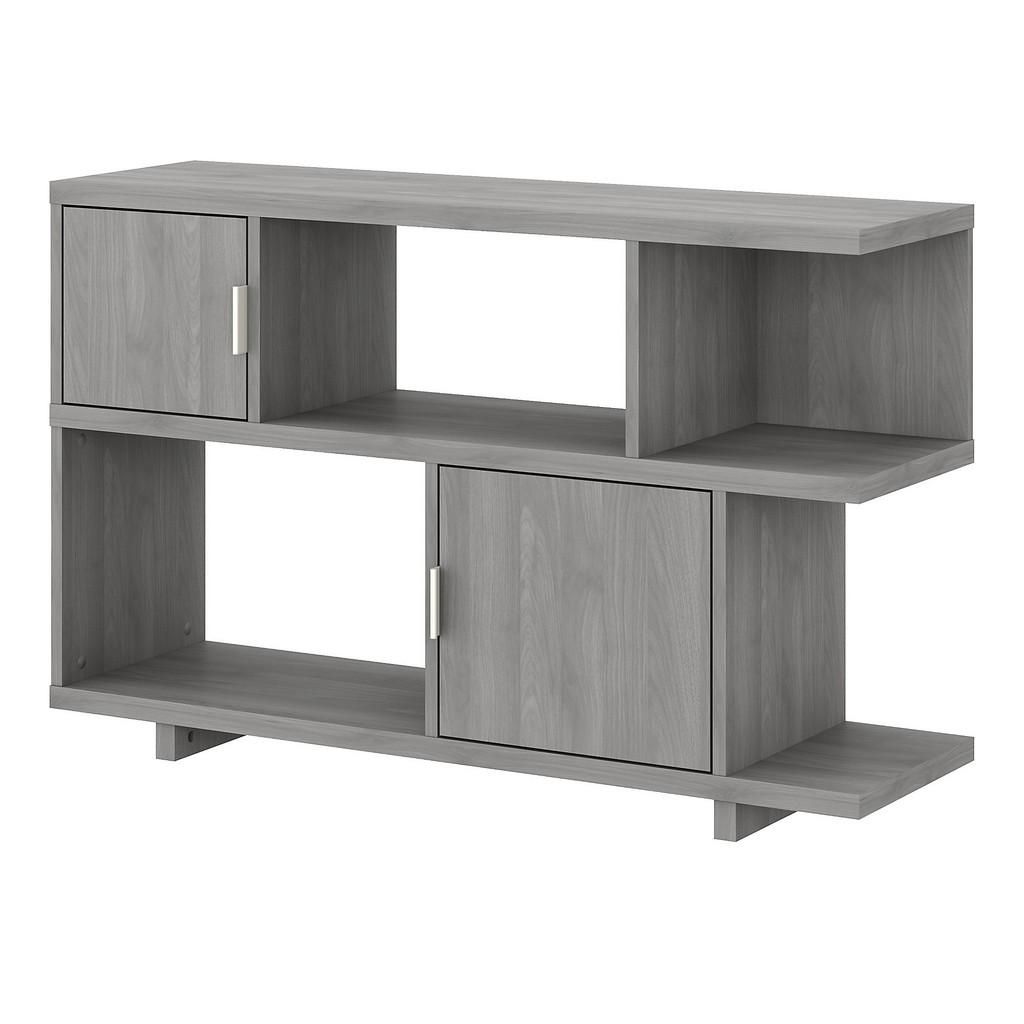 kathy ireland® Home Madison Avenue Low Geometric Bookcase with Doors in Modern Gray - Bush Furniture MDB148MG-03