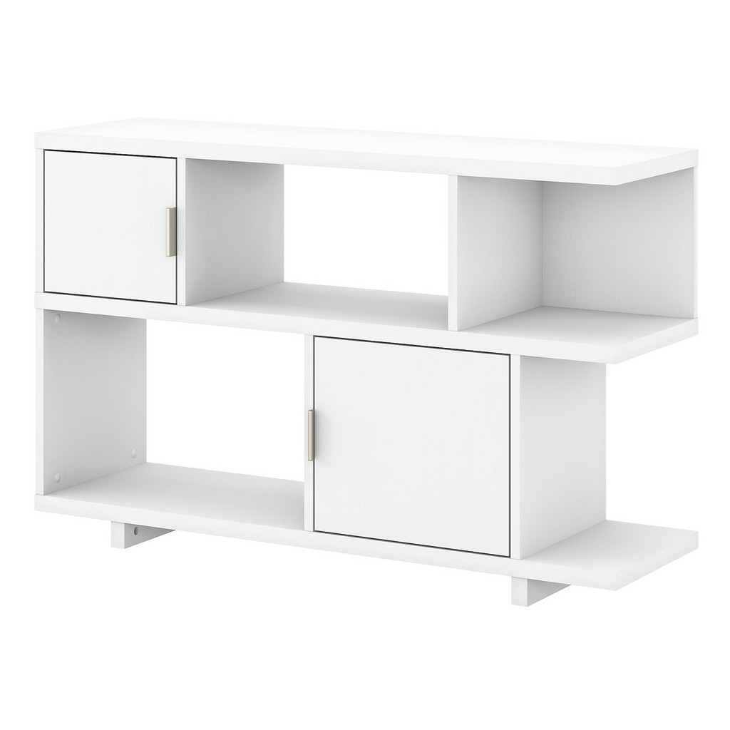 kathy ireland® Home Madison Avenue Low Geometric Bookcase with Doors in Pure White - Bush Furniture MDB148PW-03