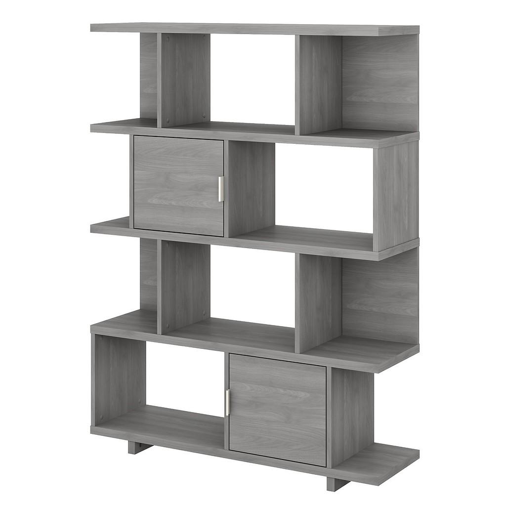 kathy ireland® Home Madison Avenue Large Geometric Etagere Bookcase with Doors in Modern Gray - Bush Furniture MDB163MG-03