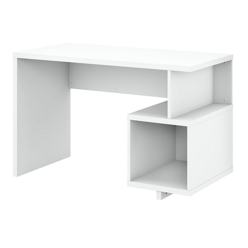 kathy ireland® Home Madison Avenue 48W Writing Desk with Storage Cubby in Pure White - Bush Furniture MDD148PW-03