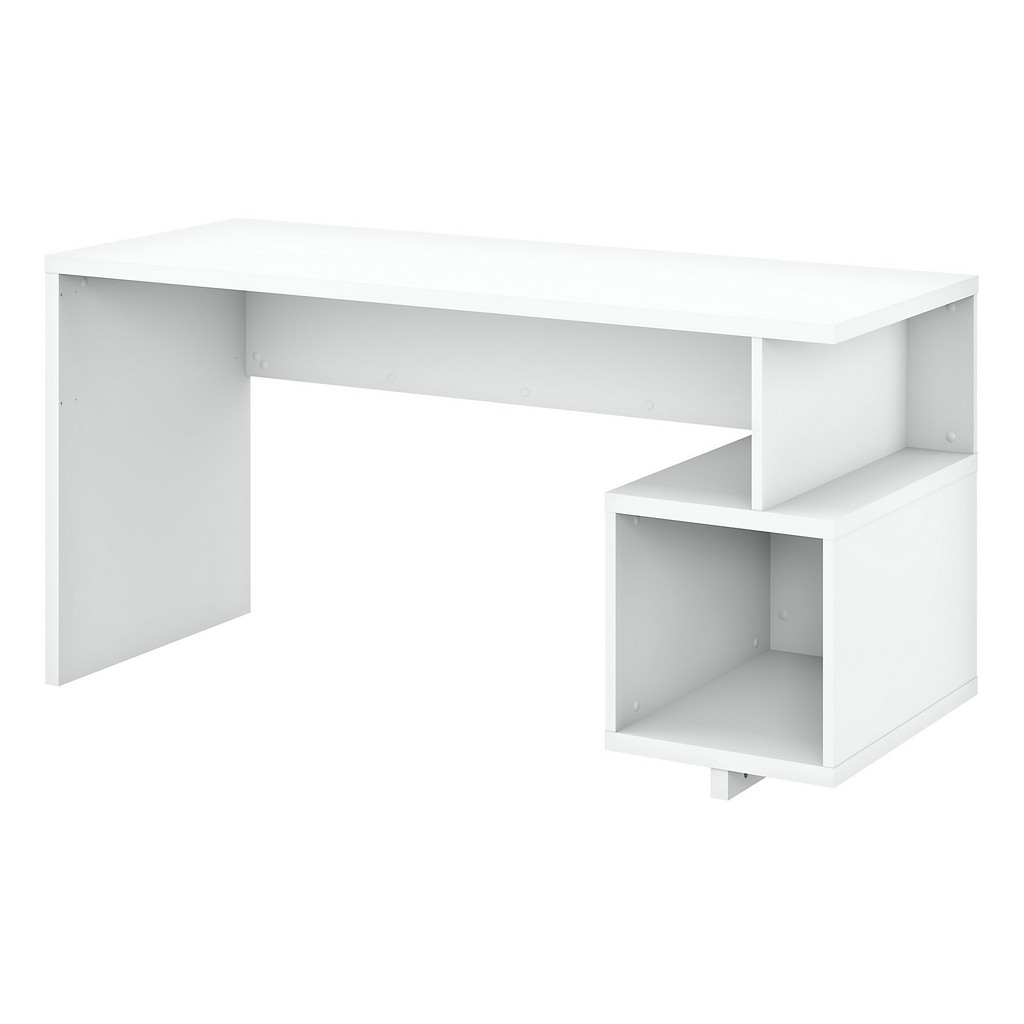 kathy ireland® Home Madison Avenue 60W Writing Desk with Storage Cubby in Pure White - Bush Furniture MDD160PW-03