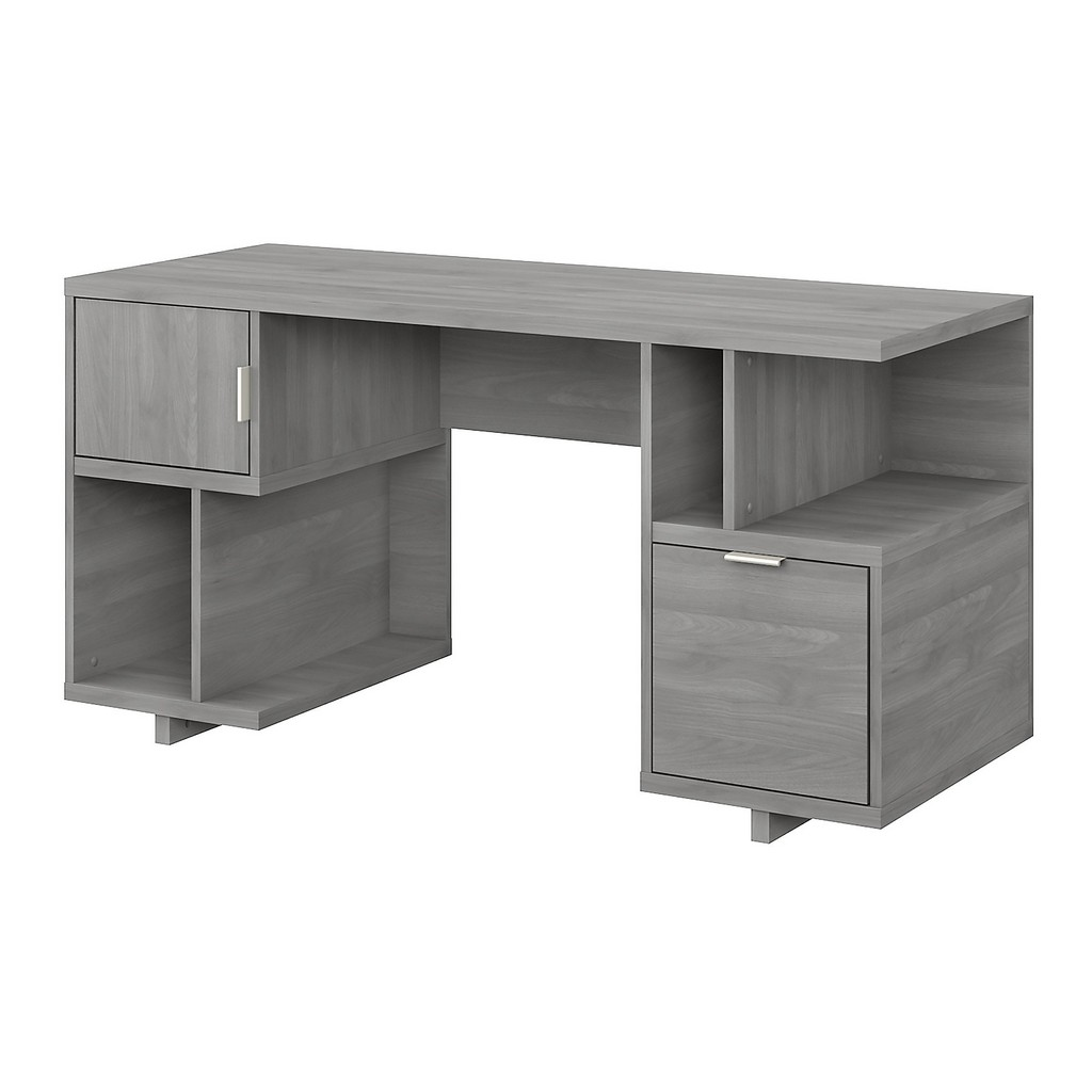 kathy ireland® Home Madison Avenue 60W Computer Desk with Drawer, Storage Shelves and Door in Modern Gray - Bush Furniture MDD260MG-03
