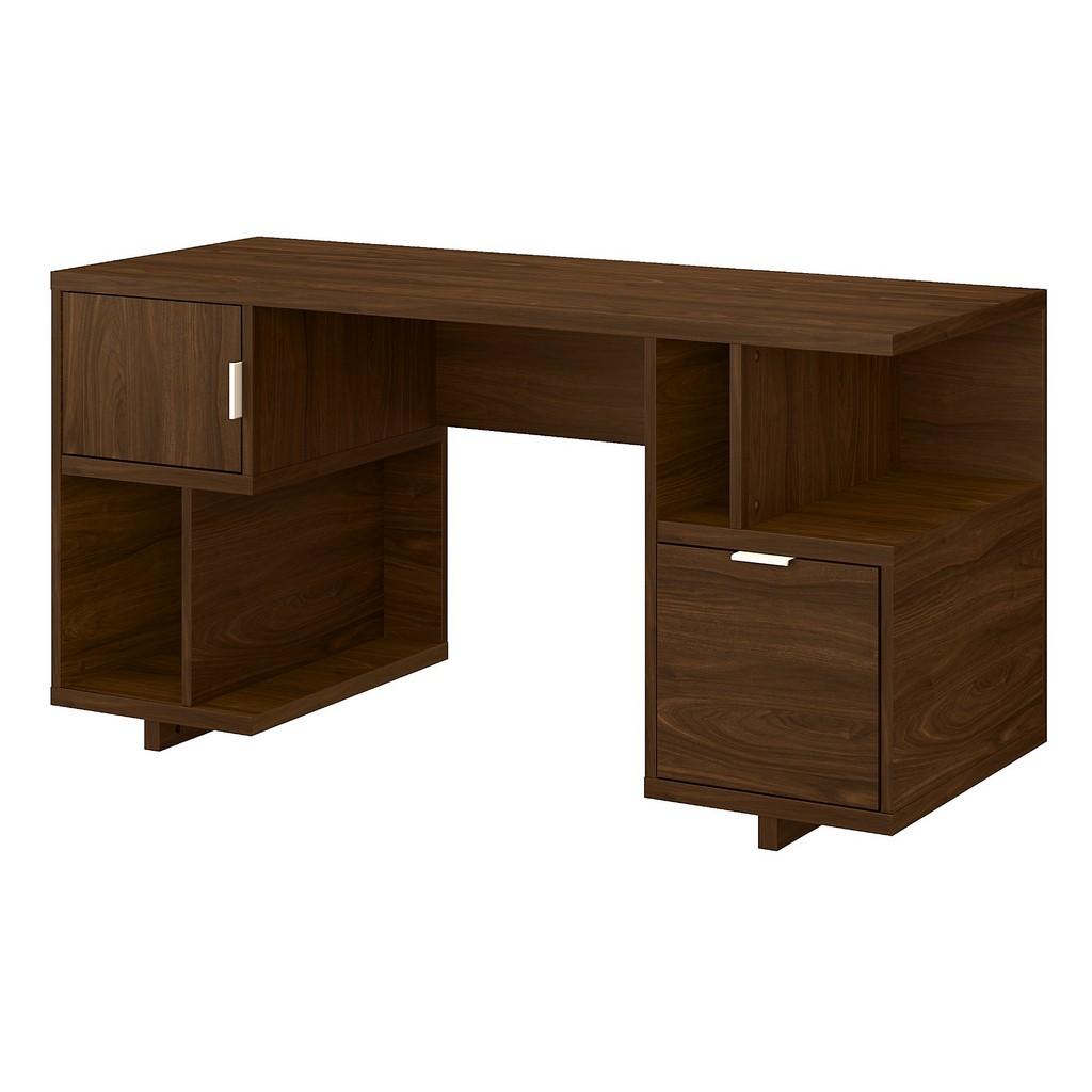 kathy ireland® Home Madison Avenue 60W Computer Desk with Drawer, Storage Shelves and Door in Modern Walnut - Bush Furniture MDD260MW-03
