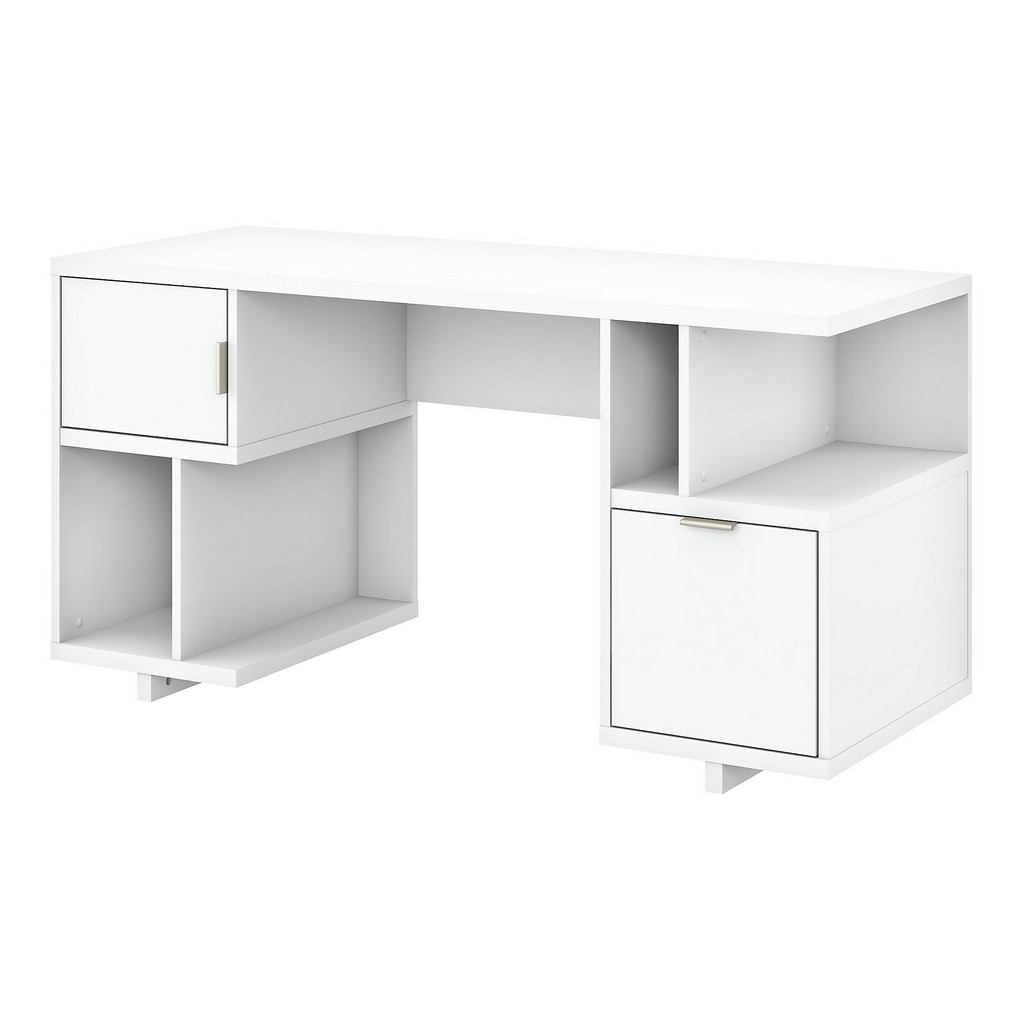 kathy ireland® Home Madison Avenue 60W Computer Desk with Drawer, Storage Shelves and Door in Pure White - Bush Furniture MDD260PW-03