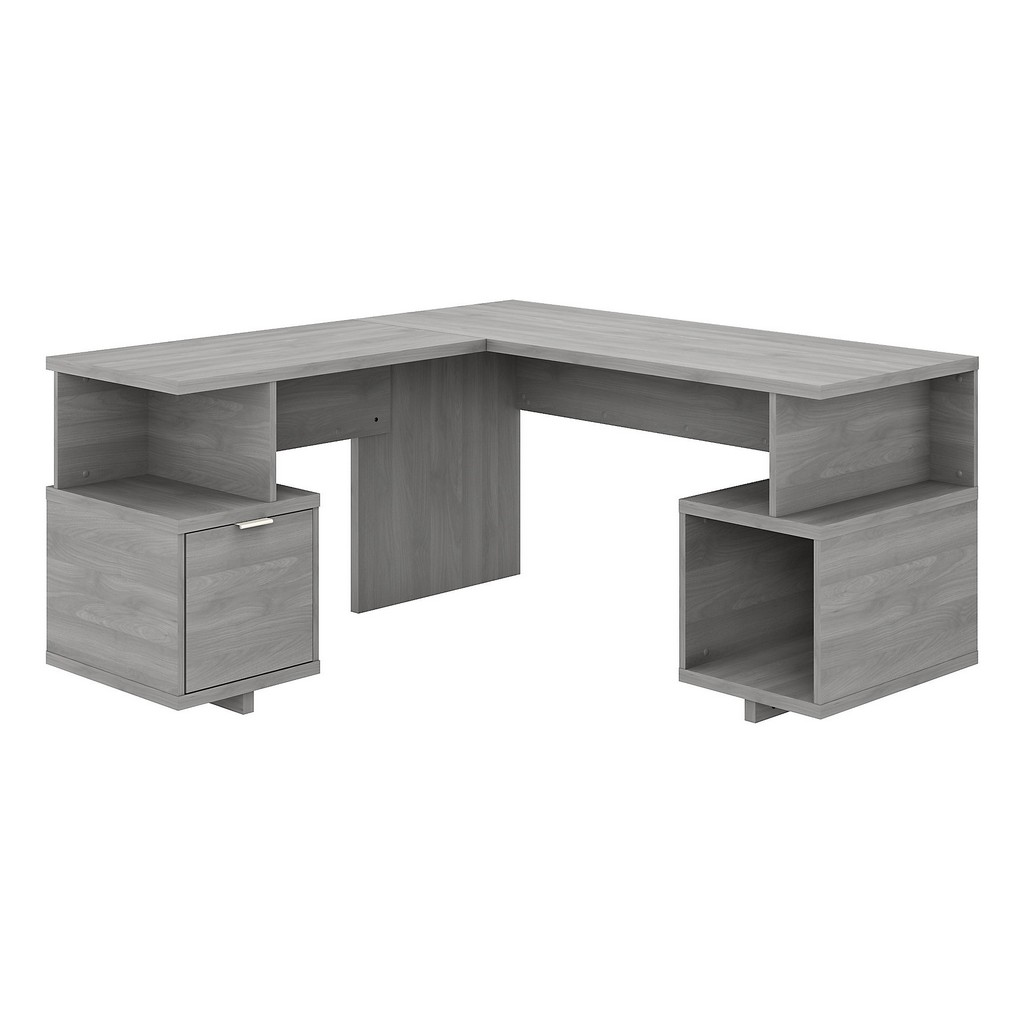 kathy ireland® Home Madison Avenue 60W L Shaped Desk with Drawer and Storage Cubby in Modern Gray - Bush Furniture MDS001MG