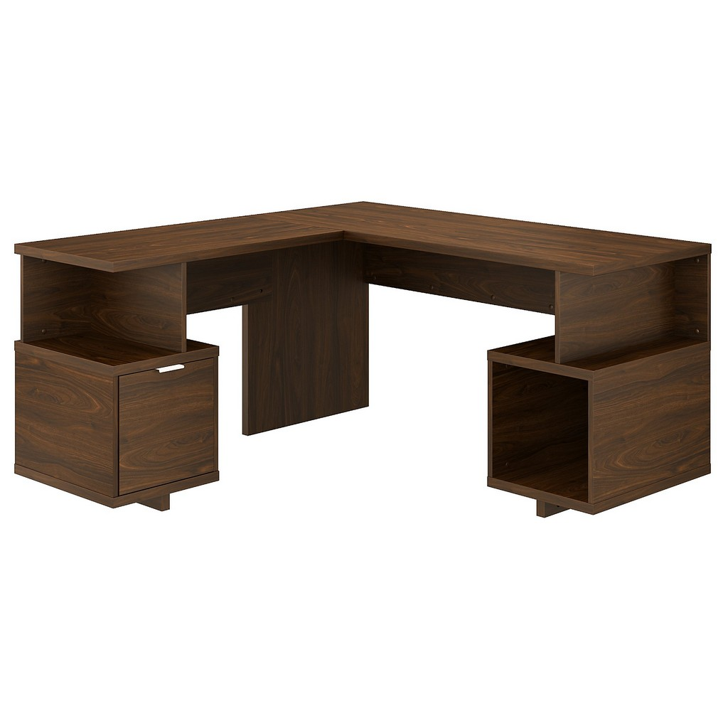 kathy ireland® Home Madison Avenue 60W L Shaped Desk with Drawer and Storage Cubby in Modern Walnut - Bush Furniture MDS001MW