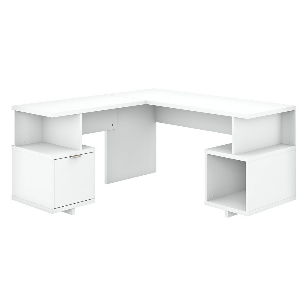 kathy ireland® Home Madison Avenue 60W L Shaped Desk with Drawer and Storage Cubby in Pure White - Bush Furniture MDS001PW