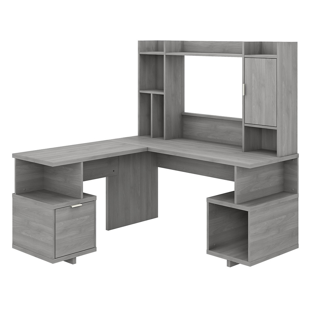 kathy ireland® Home Madison Avenue 60W L Shaped Desk with Hutch in Modern Gray - Bush Furniture MDS003MG