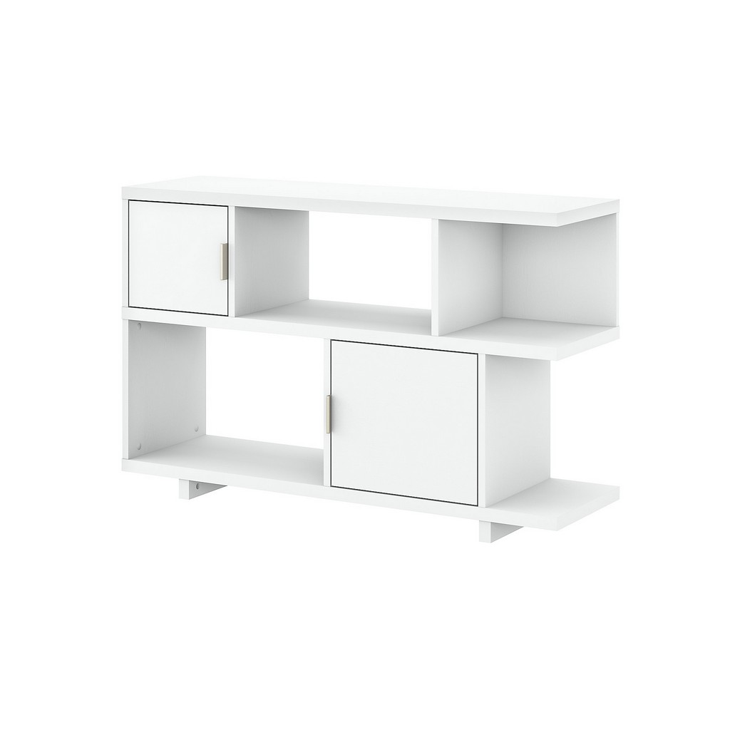 kathy ireland® Home Madison Avenue Console Table with Storage in Pure White - Bush Furniture MDS015PW