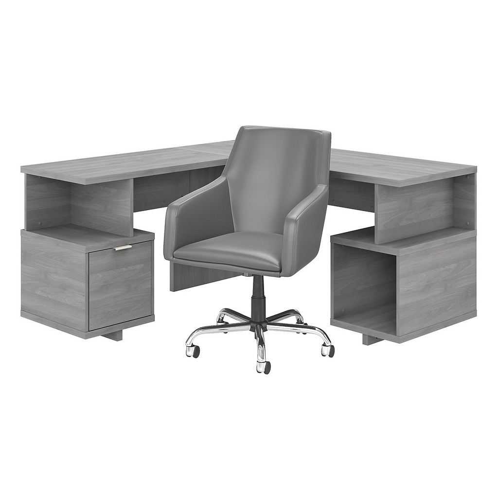 kathy ireland® Home Madison Avenue 60W L Shaped Desk and Chair Set in Modern Gray - Bush Furniture MDS016MG