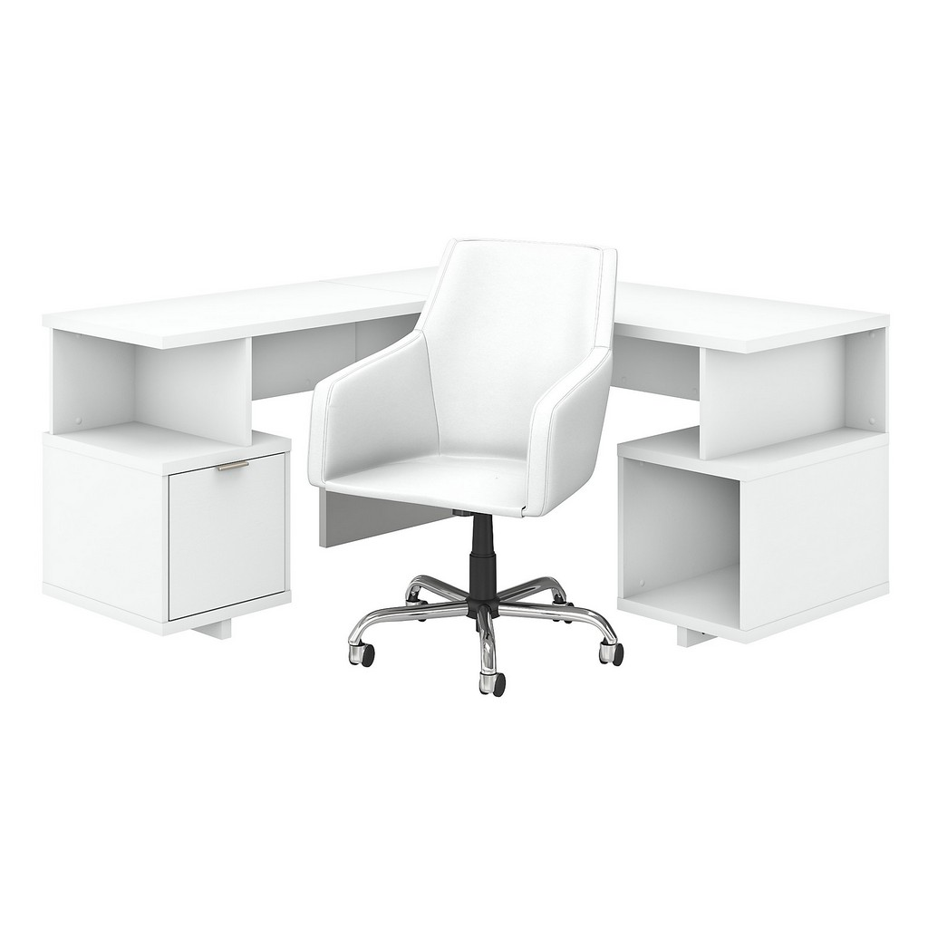 kathy ireland® Home Madison Avenue 60W L Shaped Desk and Chair Set in Pure White - Bush Furniture MDS016PW