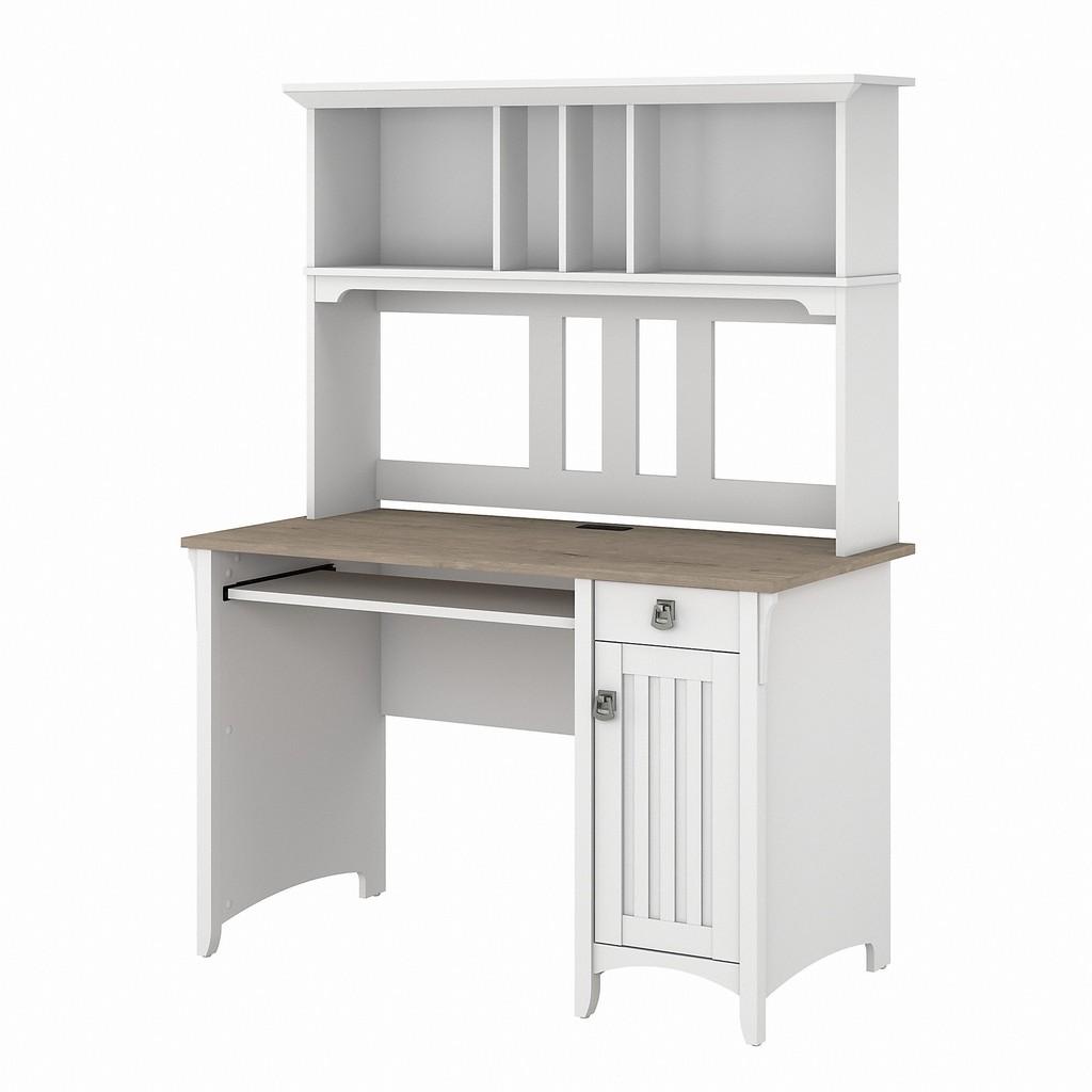 Bush Furniture Salinas Small Computer Desk with Hutch in Pure White and Shiplap Gray - Bush Furniture MY72808-03