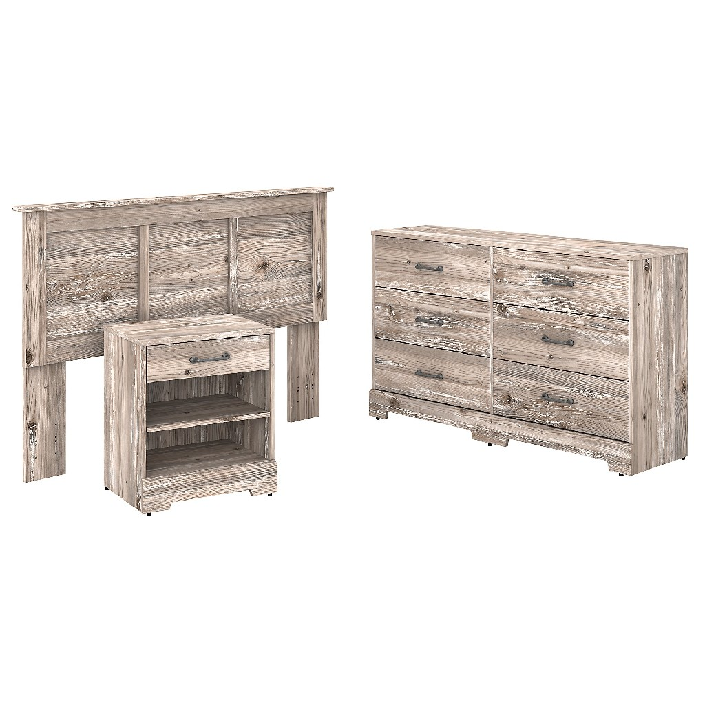 kathy ireland Home by Bush Furniture River Brook Full/Queen Size Headboard, Dresser and Nightstand Bedroom Set in Barnwood - Bush Furniture RBB001BN