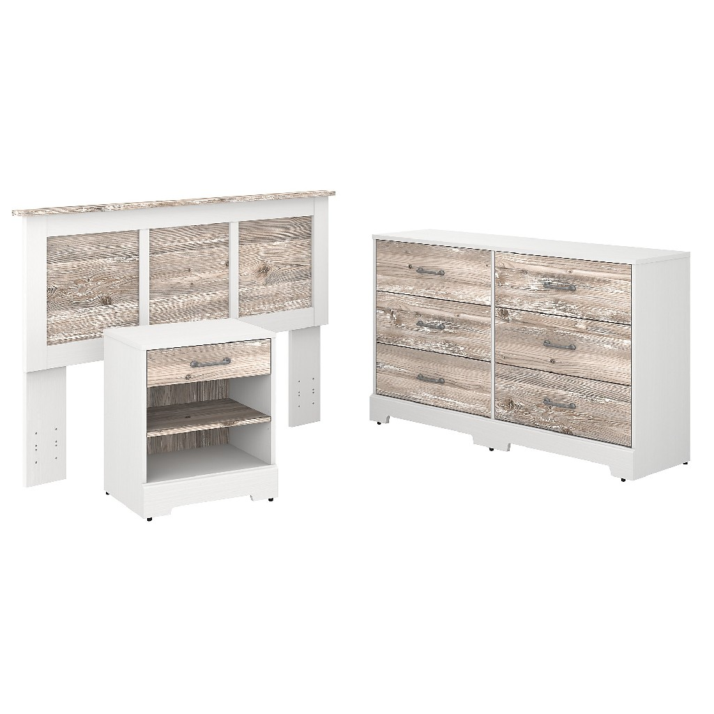 kathy ireland Home by Bush Furniture River Brook Full/Queen Size Headboard, Dresser and Nightstand Bedroom Set in White Suede Oak and Barnwood - Bush Furniture RBB001W2B