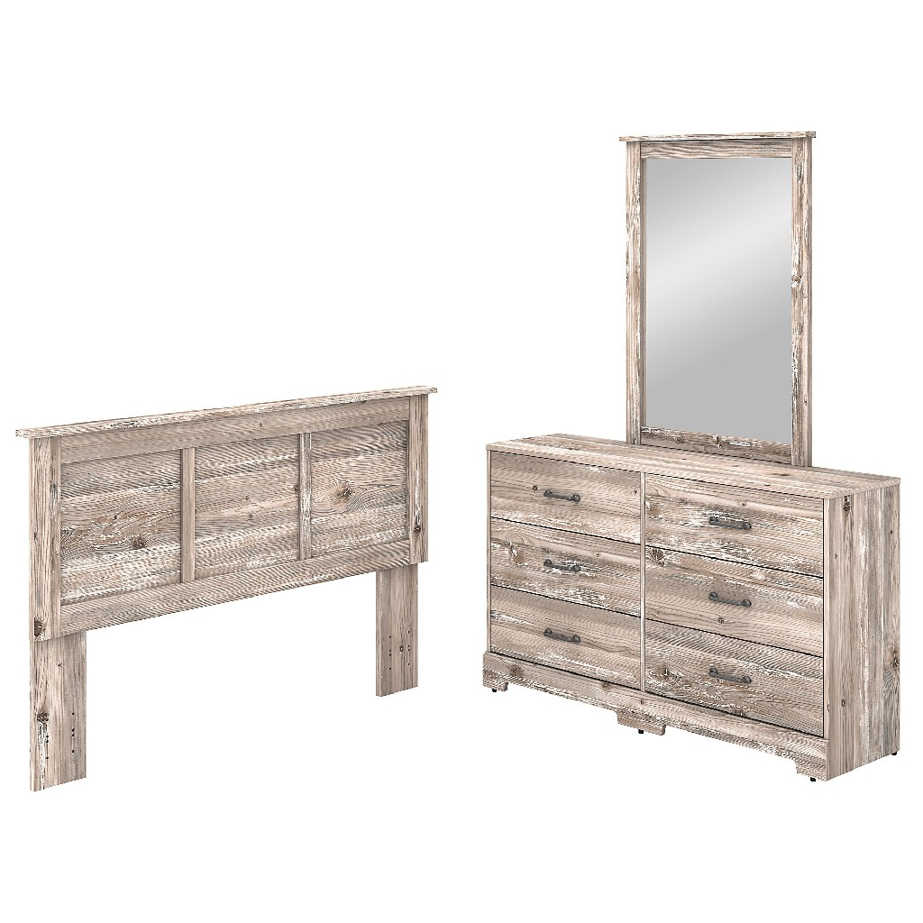 kathy ireland Home by Bush Furniture River Brook 6 Drawer Dresser with Mirror and Full/Queen Size Headboard in Barnwood - Bush Furniture RBB002BN