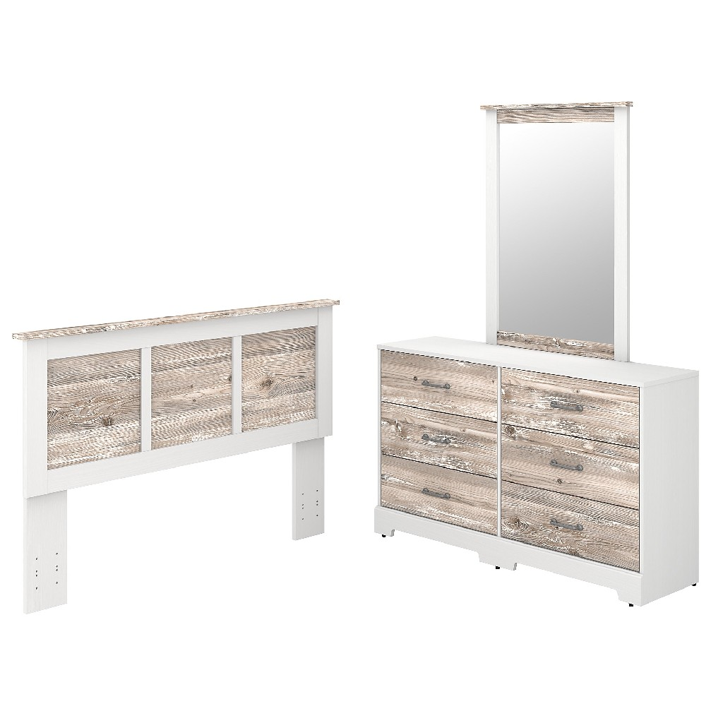 kathy ireland Home by Bush Furniture River Brook 6 Drawer Dresser with Mirror and Full/Queen Size Headboard in White Suede Oak and Barnwood - Bush Furniture RBB002W2B