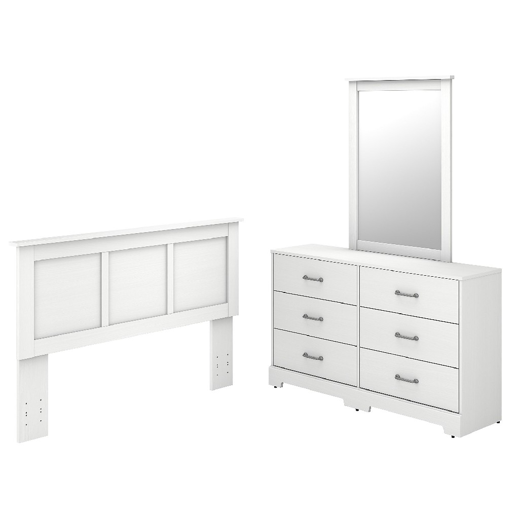 kathy ireland Home by Bush Furniture River Brook 6 Drawer Dresser with Mirror and Full/Queen Size Headboard in White Suede Oak - Bush Furniture RBB002WS