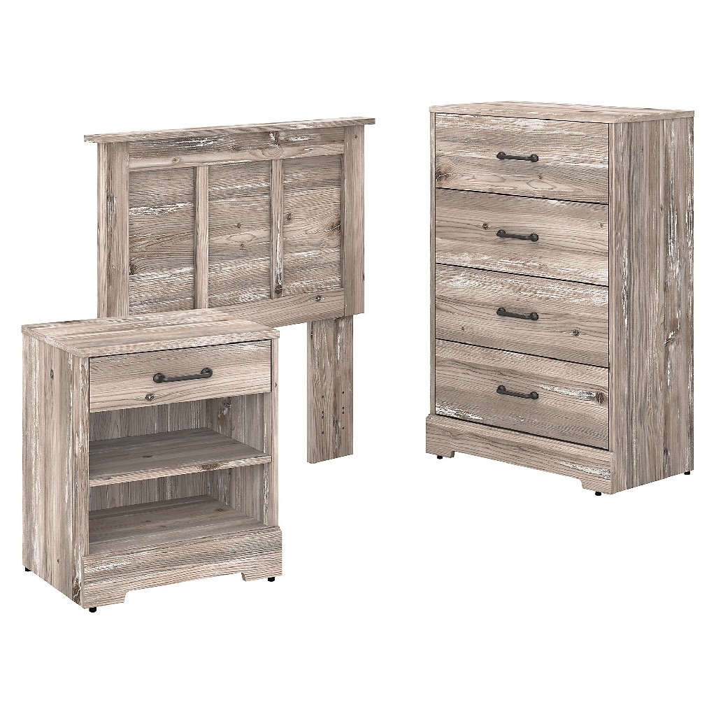kathy ireland Home by Bush Furniture River Brook Twin Size Headboard, Chest of Drawers and Nightstand Bedroom Set in Barnwood - Bush Furniture RBB008BN