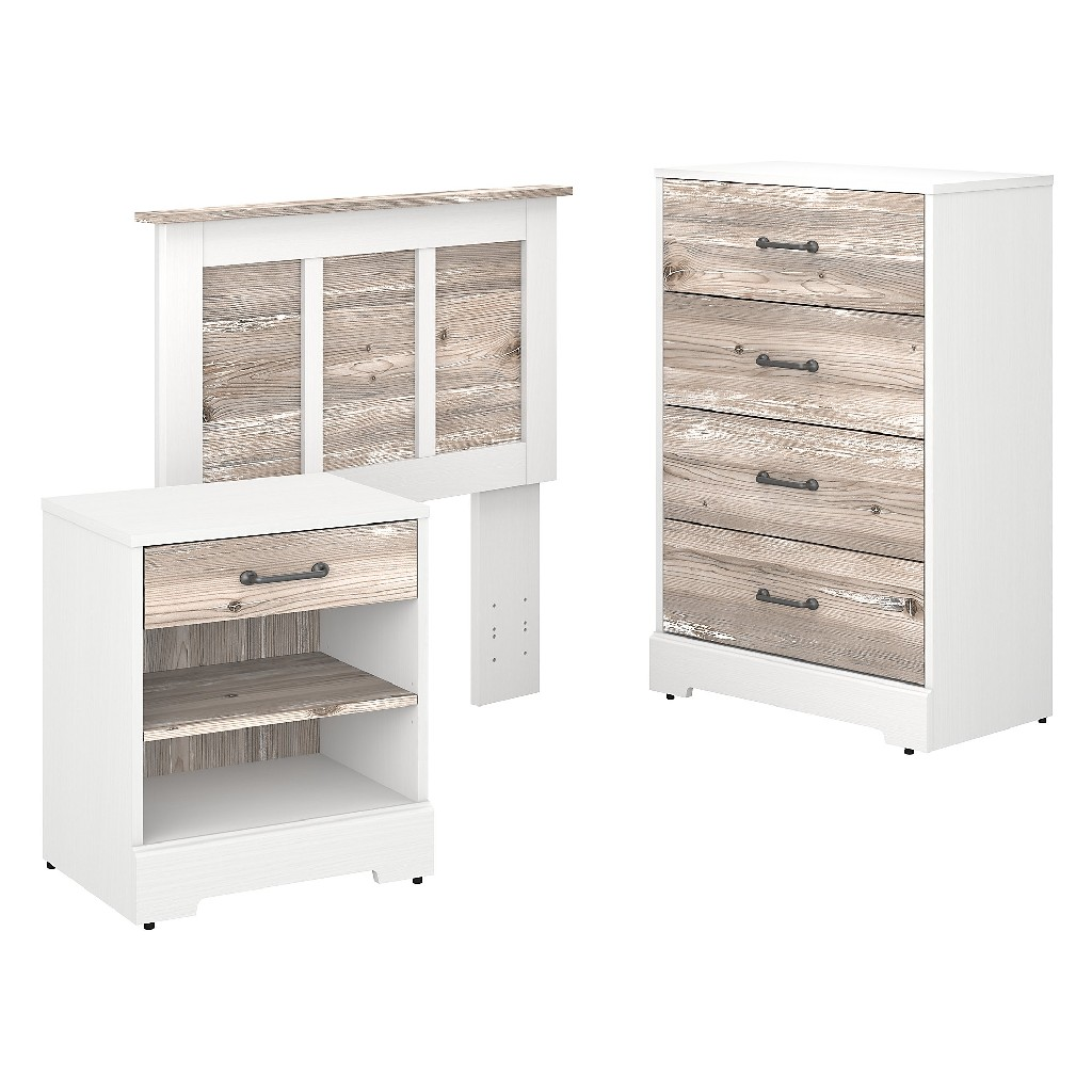 kathy ireland Home by Bush Furniture River Brook Twin Size Headboard, Chest of Drawers and Nightstand Bedroom Set in White Suede Oak and Barnwood - Bush Furniture RBB008W2B