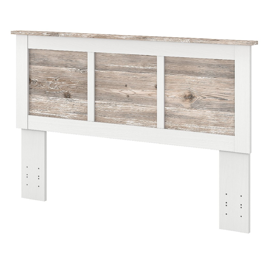 kathy ireland Home by Bush Furniture River Brook Full/Queen Size Headboard in White Suede Oak and Barnwood - Bush Furniture RBQ165W2B