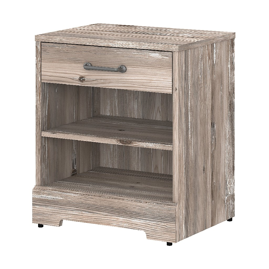 kathy ireland Home by Bush Furniture River Brook Nightstand with Drawer in Barnwood - Bush Furniture RBS121BN